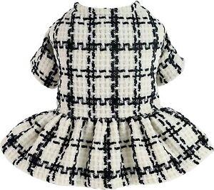 Fitwarm Vintage Plaid Dog Dresses Thermal Doggie Sweatshirt Pet Winter Clothes