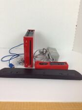 Wii Console Red For Parts Repair Motion Remote Nunchuck Power cord Bar Untested