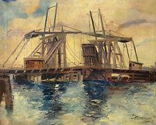 Unbekannt unleserlich signiert / Gemälde Zugbrücke mit Fischkutter / um 1930-40