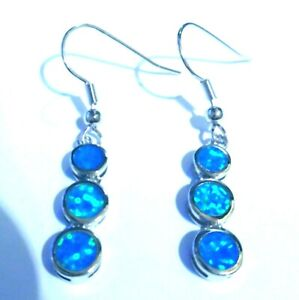 UK**NEW**FABULOUS 925 SILVER GORGEOUS BLUE FIRE OPAL 3 STONE EARRINGS  20 X 6 mm