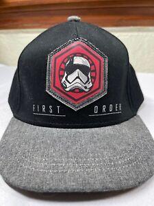 Star Wars First Order Storm Trooper Snapback S/M Black Hat Cap Boys 4-7 yr