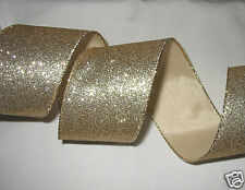 Wired Ribbon Gold Glitter ~ Sparkly Gold Edge Christmas Bows Wreath 4 Yds