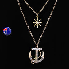 color Marine Crystal layers Necklace Women Lady Anchor Sailor Gold