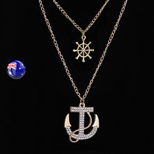 Women Lady Anchor Sailor Gold color Marine Crystal layers Necklace