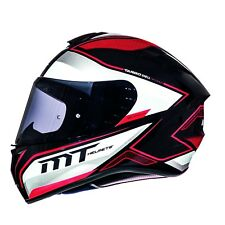 MT Targo Interact Full Face Motorbike Motorcycle Helmet Black Pearl White Red