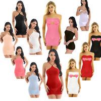Tube Micro Mini Dress Women Sheer Mesh Bodycon Short Skirt Sleepwear Lingerie