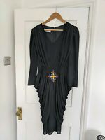 Unusual 1920s Vintage Tulip Dress Black Ruched 14 12 M Fancy Dress Halloween