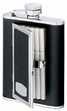 Visol SP Black Leather Stainless Steel Flask with Built-In Cigarette Case, NIB