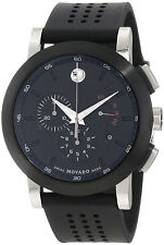 New Movado Museum Chronograph Black Rubber Strap Mens Sport Watch 0606545