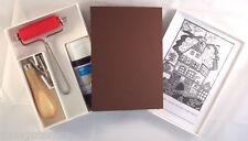 Linolschnitt Set mit Linolplatte Linolmesser Linolfarbe Walze in Kunststoffbox