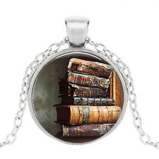 Silver Cabochon Glass Pendant Chain Necklace Stack Of Antique Books Photo Tibet