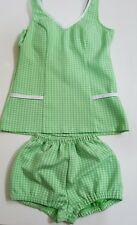 """Vintage1950-1970 """"pin-up""""two piece small limegreenpolyesterleisure/bathing suit"""