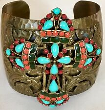 Sweet Romance Turquoise & Coral Mayan Cross Cuff Bracelet