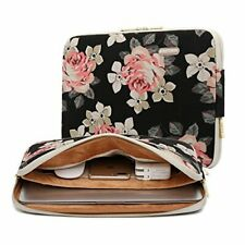 Kayond Rose Patten Canvas Water-Resistant for for 11-15In Laptop Sleeve Case Bag