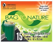 "Indaco, Bag To Nature, 30 Count, 13 Gallon, 24"" x 30"", Compost Tall Kitchen Bag"