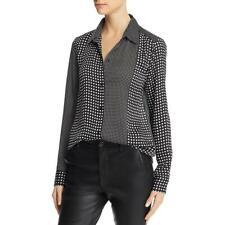Equipment Femme Womens Black Point Collar Button-Down Top Shirt S BHFO 8337