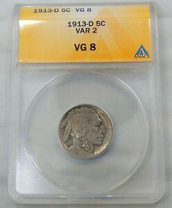 1913 D Type 2 Buffalo Nickel - ANACS Graded VG8 !!