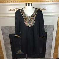 RAVEL Womens L Black Multicolored Beaded Gold Embroidered Tunic Blouse Top