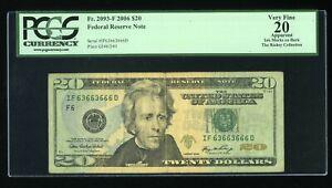 DBR 2006 $20 Binary 6/3 FRN Atlanta Fr. 2093-F PCGS App VF-20 Serial IF63663666D
