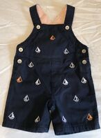 Macy's Baby Boy 6-9M Navy Blue Overall Shorts White Orange Sailboats Buttons EUC