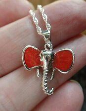 Plata de Ley y Coral Rojo Collar de Elefante