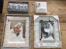 Wedding Photo Frames (Lot of 2), Silk Pen Holder and Garter Belt Blue Horseshoe