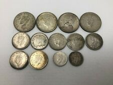 1925-1945 India 1 1/2 1/4 Rupee Lot Silver 13 Coins