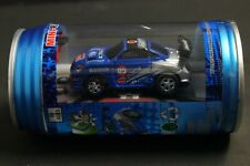Mini RC Car in a Can with Charger & Remote, Headlights Light Up, Blue Car Racers