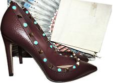 $1045 Valentino Rockstud Rolling Pump Pointed Pump Burgundy Leather  Shoe 36.5