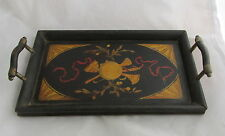 Antique Primitive Folk Art Wood Painted Small Tray Musical Instruments