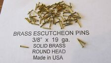 """ESCUTCHEON PINS SOLID BRASS  300 pcs. 3/8"""" X 19 ga. U.S.A. WOOD / LEATHER new"""