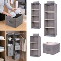 3/4/5 Section Hanging Shelves Wardrobe Organiser Storage Drawer Shelf Clothes