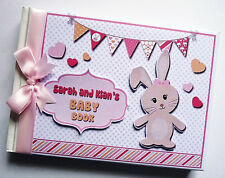 PERSONALISED PINK BUNNY BABY SHOWER GIRL GUEST BOOK - ANY DESIGN