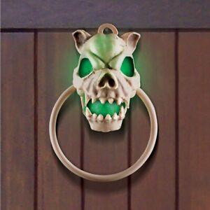Sound Activated Lighted Spooky Sounds Dog Skull Halloween Door Bell Knocker