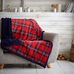 Teddy Bear Tartan Highland Check throws and cushion covers or Inners Bed Blanket