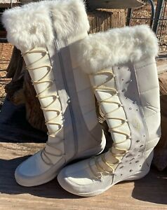 Baby Phat White Calf-High Winter Boots Women's Fur Top Size 11B Ladies Boot