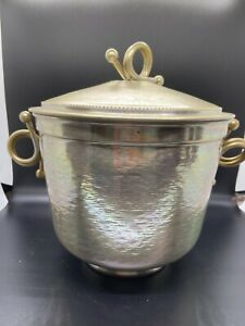 Vintage Mid Century Hammered Aluminum Ice Bucket with Lid Made in USA