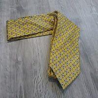 "ERMENEGILDO ZEGNA Mens Tie 100% Silk ITALY Gold Yellow Blue  Geometric 59"""
