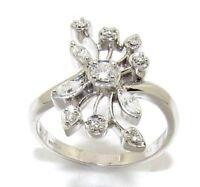 Ladies/women's 9carat/9ct White Gold unusual style Diamond Ring UK Size N 1/2.
