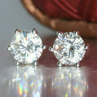 14K White Gold Over 2Ct Round Cut Moissanite Six Prong Solitaire Stud Earring