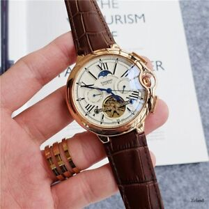 Mens Automatic Tourbillon Mechanical Wrist Watch White Dial Black Leather Strap