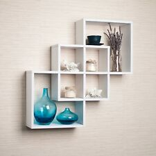 Danya B™ Intersecting Squares Decorative White Wall Shelf FF6013W