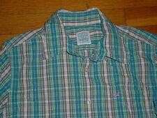 Hollister Mens Long Sleeve Shirt Blue Multi Striped Pink-Logo Slim Fit L Nice!