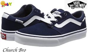 New Vans Unisex Chapman Stripe Sneakers Blue Size UK i12