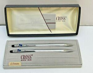 Cross Ball Point Pen & Pencil Set Chrome 3501 Custom F Logo on Clip IOB