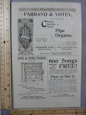 Rare Original VTG 1893 Farrand & Votey Vose & Sons Piano Advertising Art Print