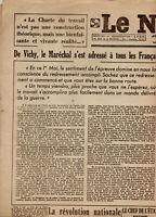 Ancien journal Pétain Vichy 1er Mai 1943 pleine ahésion du Conseil des Ministres