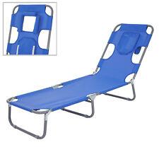 Chaise longue de jardin HWC-B11, fonction position sur le ventre, tissu ~ bleu
