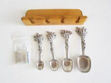 Seagull Pewter Canada 1996 Measuring Spoons Grape Handles W/ Wall Hanger