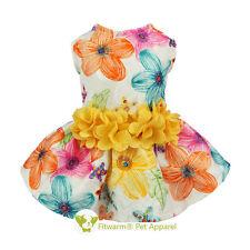 Fitwarm Princess Flowers Dog Dress Harness Pet Clothes D-ring Shirt Cat Skirt